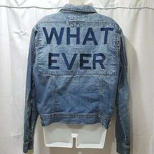 Forever 21 Denim jean boyfriend What Ever Jacket L
